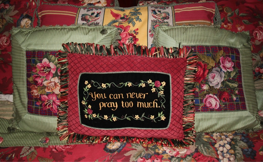 Silk ribbon & secret codes: You can never pray too much!
