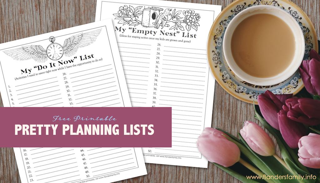 Pretty Planning Lists