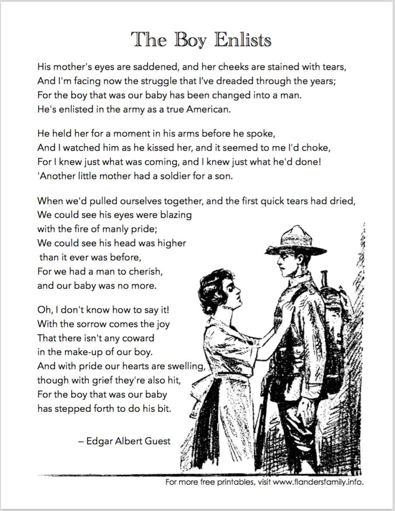 """Free Printable Version of Edgar Albert Guest's wonderful poem, """"The Boy Enlists"""""""