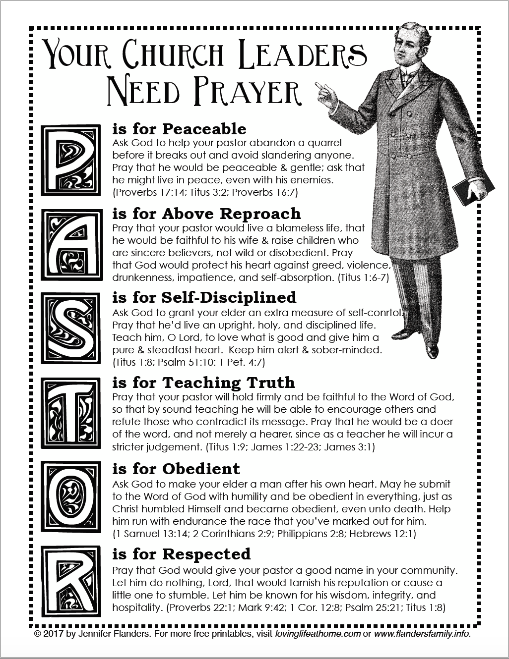 PRAY FOR YOUR PASTOR: free printable prayer guide from lovinglifeathome.com