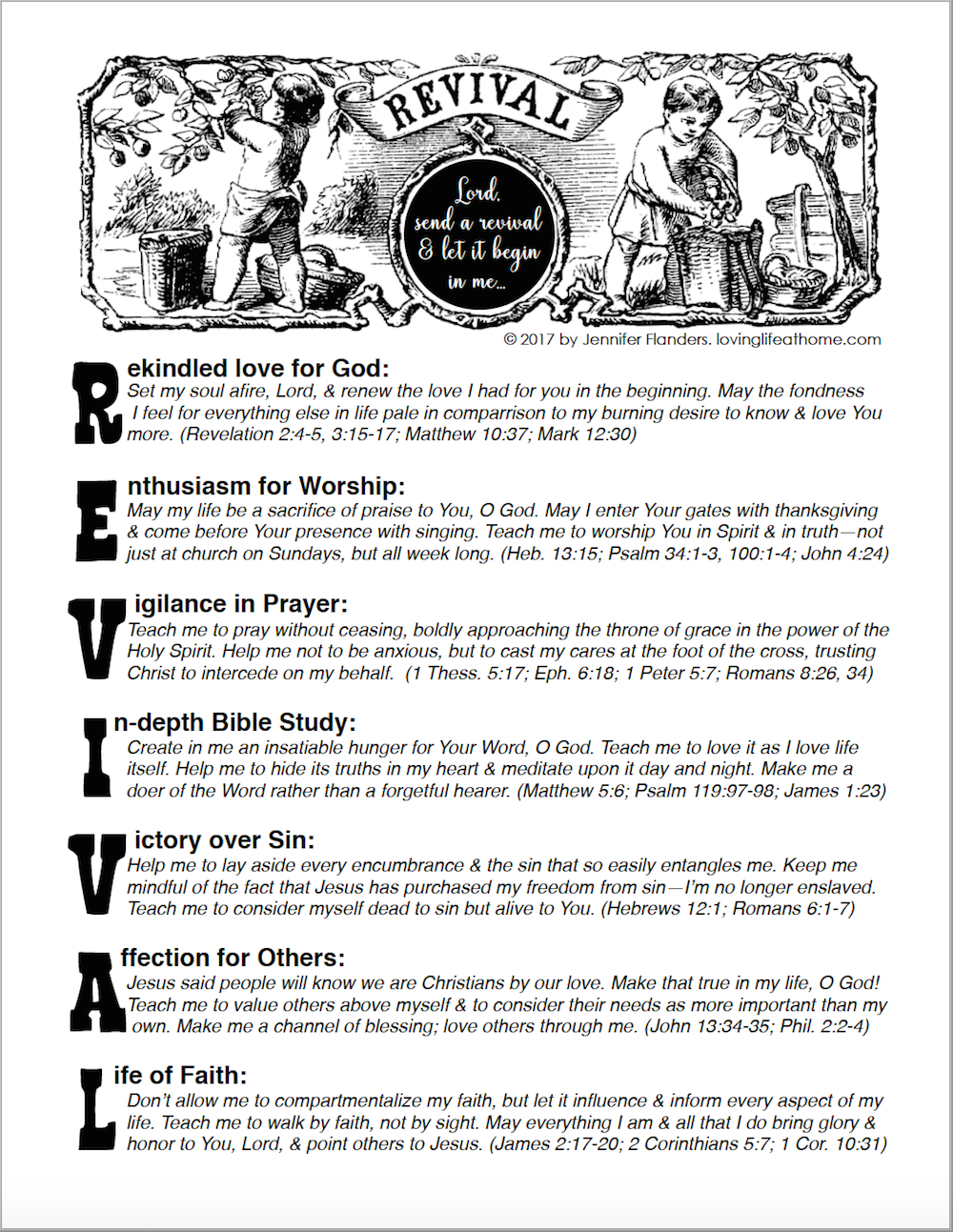 Praying for Revival - free printable prayer guide from lovinglifeathome.com