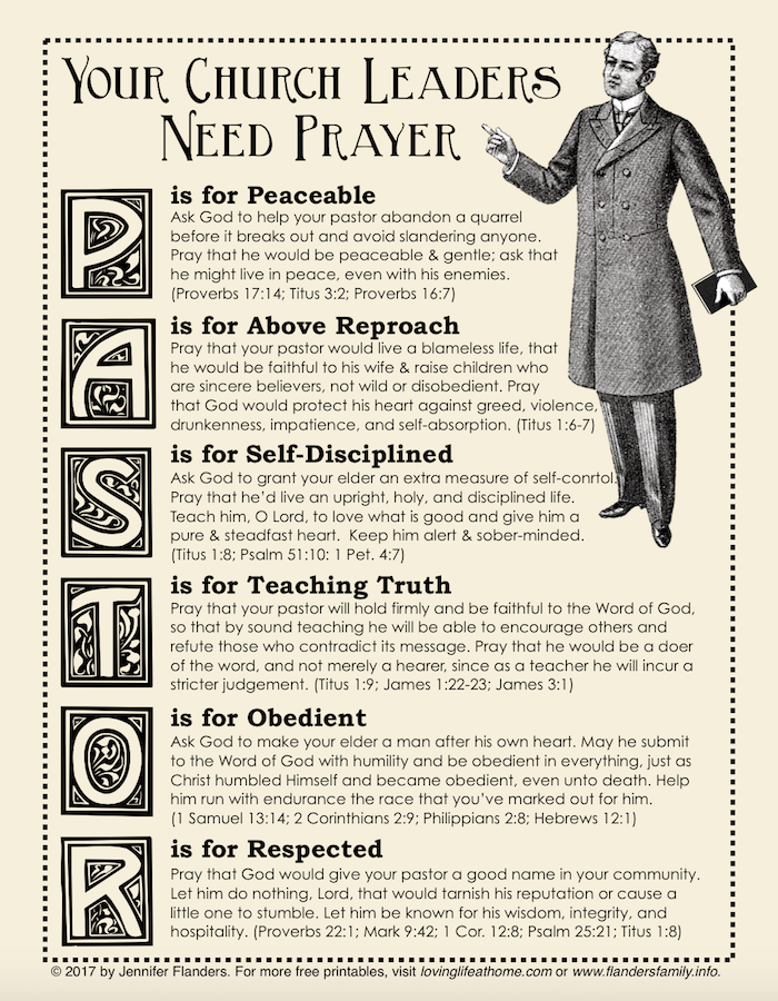 Praying for Your Pastor Printable