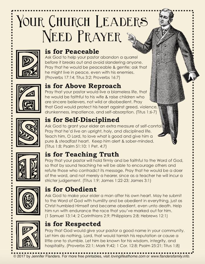 Praying for Your Pastor Printable