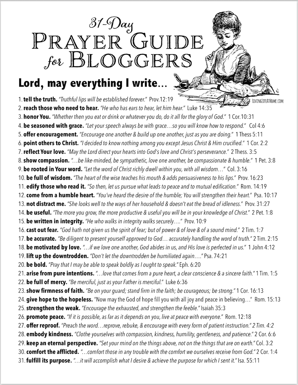 Free Printable 31-Day Blogger's Prayer Guide