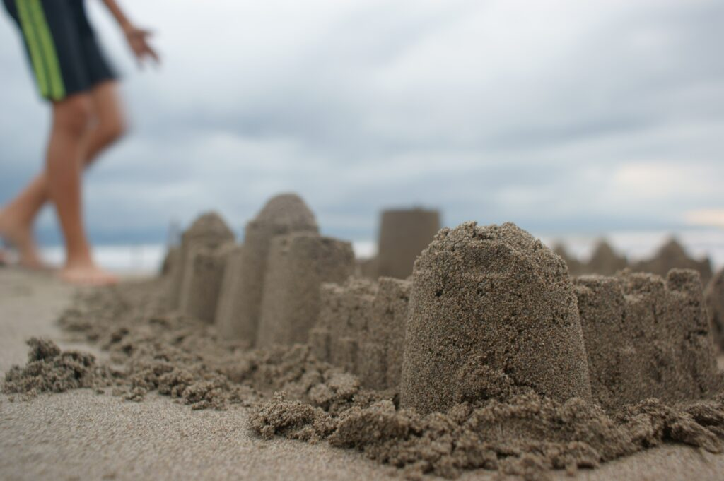 Sand castles on the beach