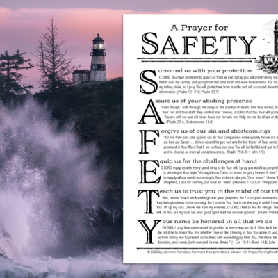 "Free Printable ""Prayer for Safety"" Prayer Guide"