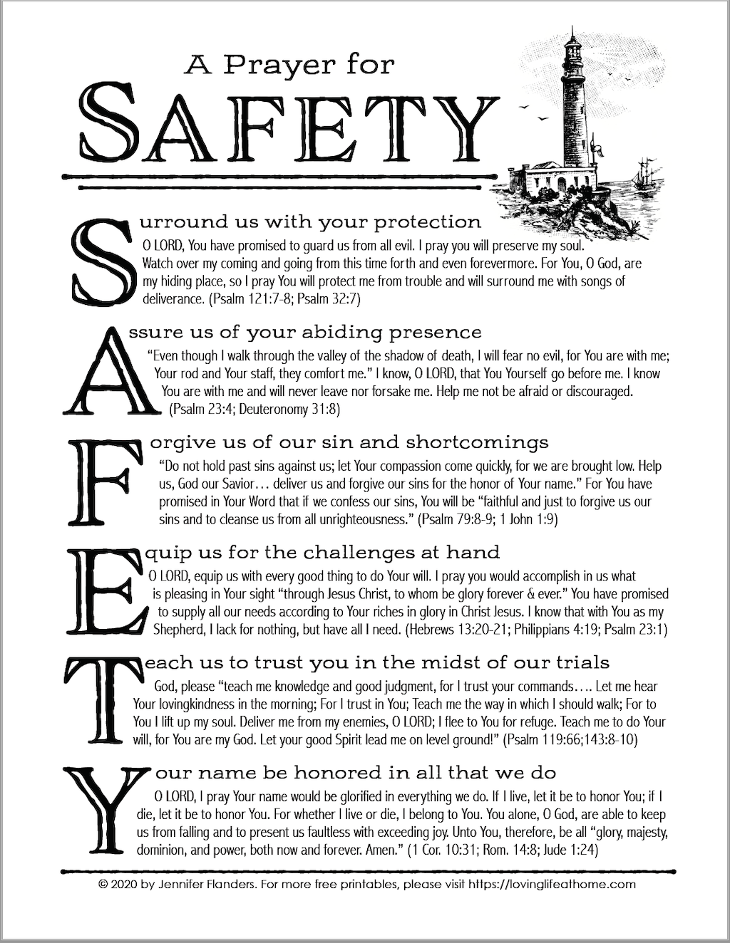 "Free Printable ""Prayer for Safety"""
